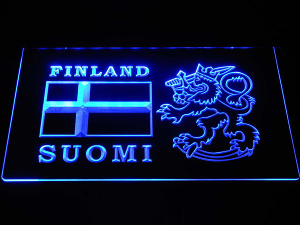 Finland Suomi Flag LED Neon Sign b1046 - Blue