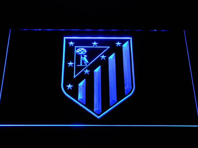 Atletico Madrid Crest Bar LED Neon Sign b1061 - Blue