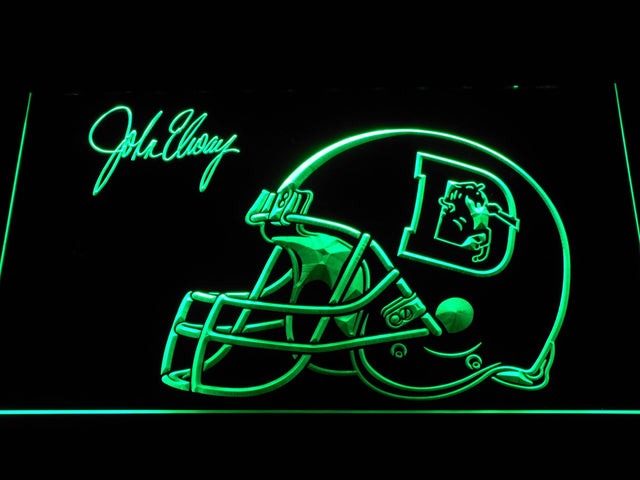 Denver Broncos John Elway Signature LED Neon Sign b1111 - Green