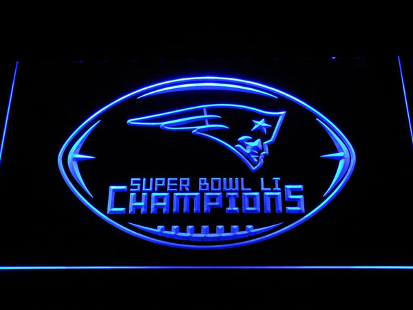 New England Patriots Super Bowl 51 Champions LED Neon Sign b1125 - Blue