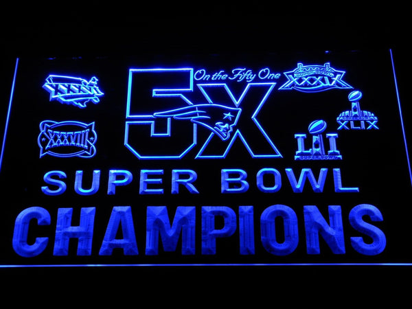 New England Patriots 5X Super Bowl Champions LED Neon Sign b1127 - Blue