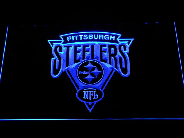 Pittsburgh Steelers Triangle Logo NFL  LED Neon Sign b1131 - Blue