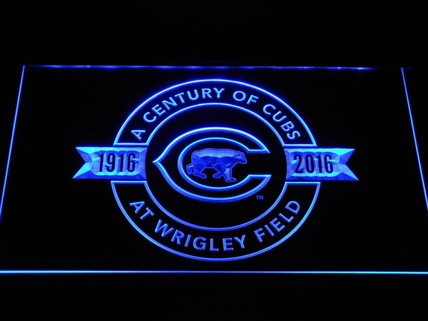 Chicago Cubs 100th Anniversary Wrigley Stadium LED Neon Sign b1176 - Blue