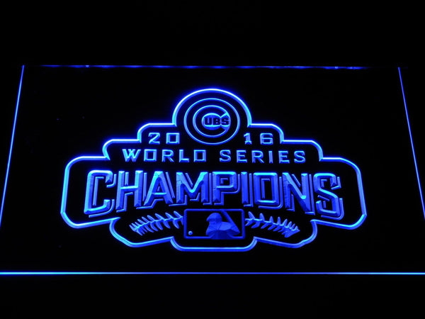 Chicago Cubs World Series Champions LED Neon Sign b1177 - Blue