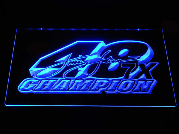 Jimmie Johnson 7x champion Nascar LED Neon Sign b1223 - Blue