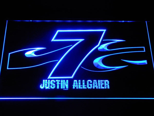 Justin Allgaier 7 LED Neon Sign b1242 - Blue