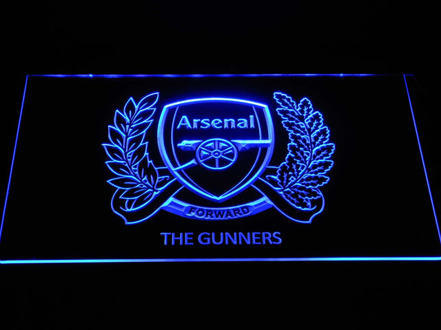 Arsenal F.C. 125th Anniversary Logo LED Neon Sign b1367 - Blue