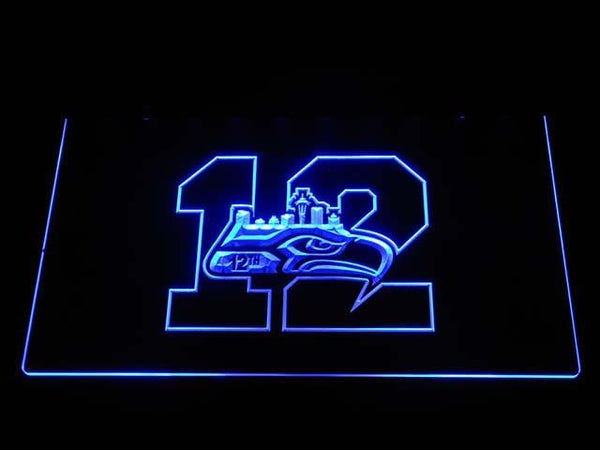 Seattle Seahawks 12th Man LED Neon Sign b1581 - Blue