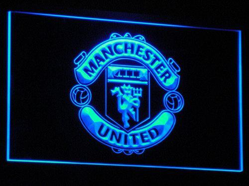 Manchester United UK Football LED Neon Sign b214 - Blue