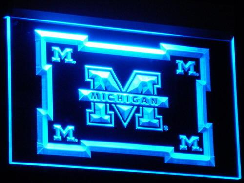 Michigan Wolverines NCAA Football LED Neon Sign b249 - Blue
