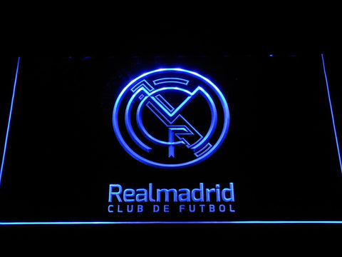 Real Madrid CF Crest LED Neon Sign b264 - Blue
