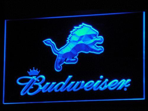 Detroit Lions Budweiser LED Neon Sign b275 - Blue