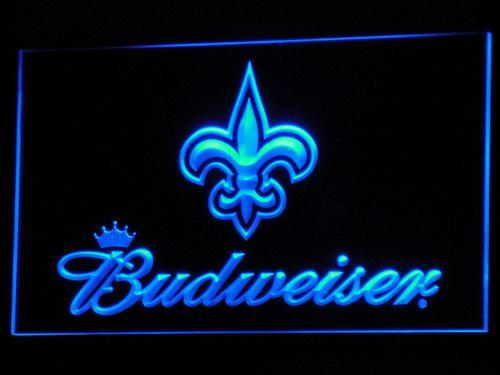 New Orleans Saints Budweiser LED Neon Sign b280 - Blue