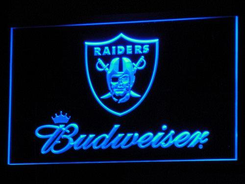 Oakland Raiders Budweiser LED Neon Sign b283 - Blue
