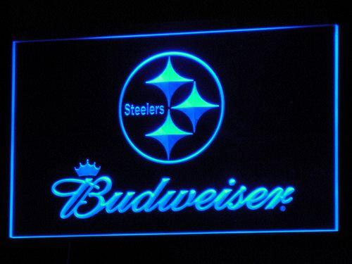 Pittsburgh Steelers Budweiser LED Neon Sign b285 - Blue