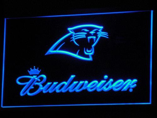 Carolina Panthers Budweiser NFL LED Neon Sign b293 - Blue