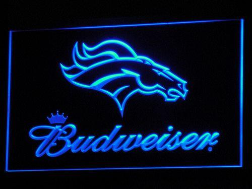 Denver Broncos Budweiser NFL LED Neon Sign b294 - Blue