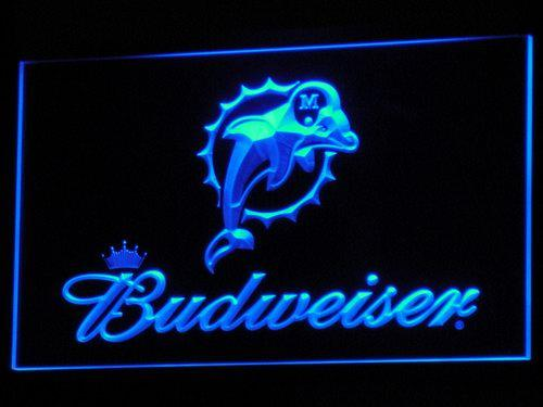 Miami Dolphins Budweiser Beer Pub LED Neon Sign b297 - Blue
