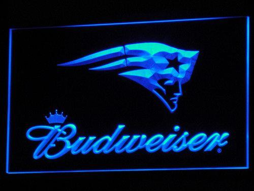 New England Patriots Budweiser LED Neon Sign b298 - Blue