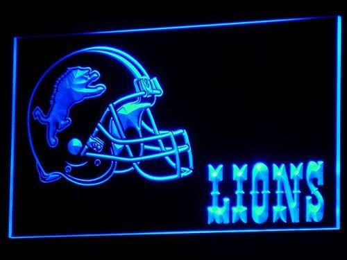 Detroit Lions Helmet LED Neon Sign b319 - Blue