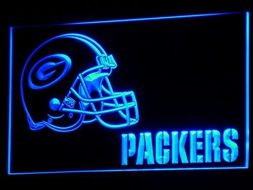 Green Bay Packers Helmet LED Neon Sign b320 - Blue