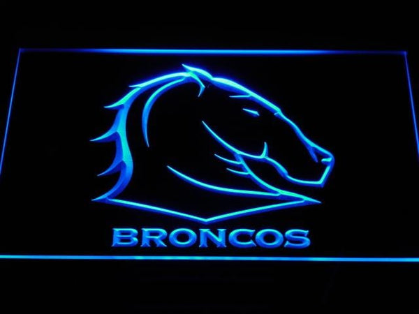 Brisbane Broncos Rugby LED Neon Sign b372 - Blue