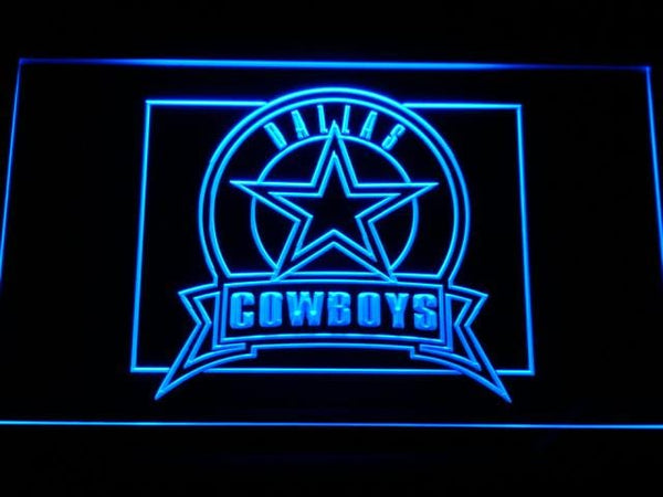 Dallas Cowboys Badge NFL LED Neon Sign b483 - Blue
