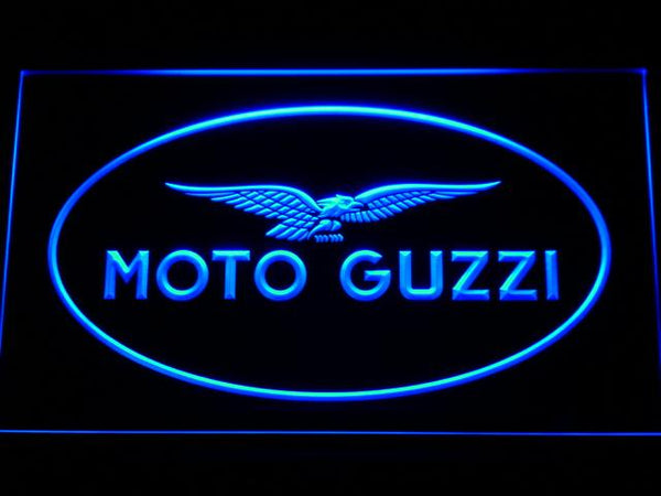 Moto Guzzi Motorcycle LED Neon Sign b488 - Blue