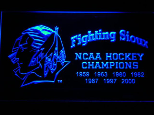 North Dakota Fighting Sioux Hockey LED Neon Sign b545 - Blue
