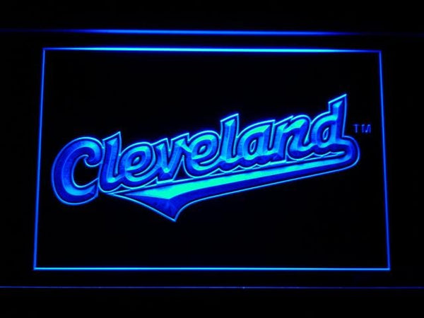 Cleveland Indians 2008-2010 Logo MLB LED Neon Sign b656 - Blue