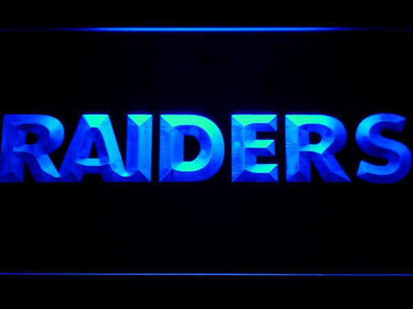 Oakland Raiders Text Football LED Neon Sign b828 - Blue