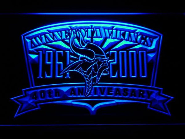 Minnesota Vikings 40th Anniversary LED Neon Sign b872 - Blue
