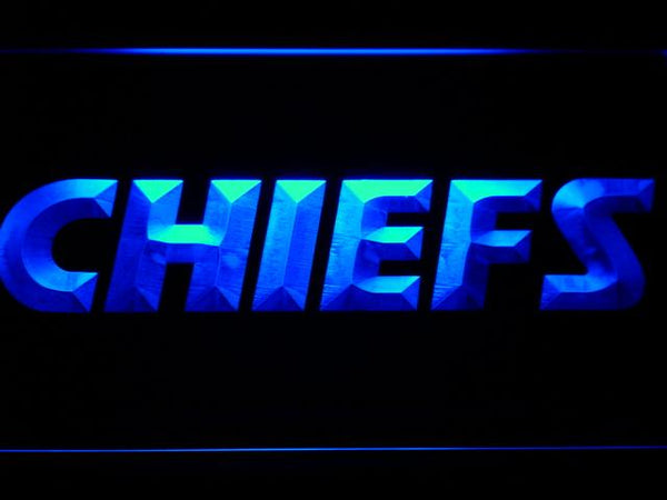 Kansas City Chiefs Text LED Neon Sign b889 - Blue