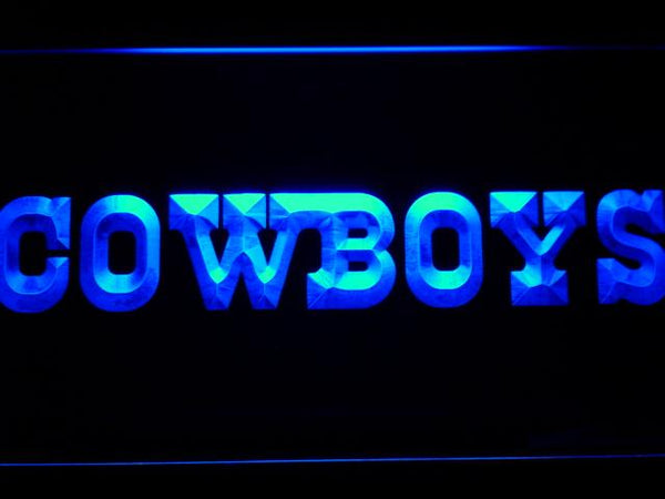 Dallas Cowboys Text Logo LED Neon Sign b932 - Blue