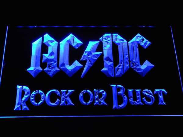 AC/DC Rock or Bust LED Neon Sign c073 - Blue