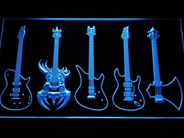 Guitar Weapons Band Music LED Neon Sign c103 - Blue