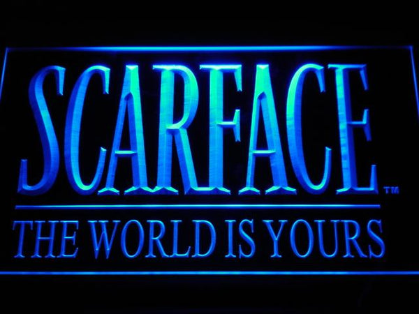 Scarface The World Is Yours LED Neon Sign c111 - Blue