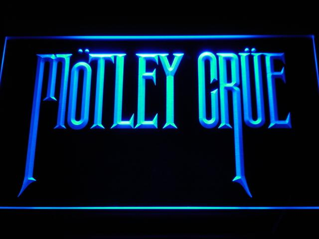 Motley Crue Band LED Neon Sign c112 - Blue