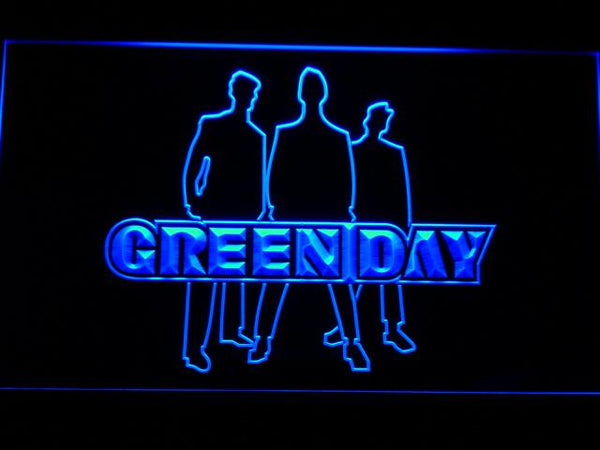 Green Day Silhouette Punk Rock Band LED Neon Sign c191 - Blue