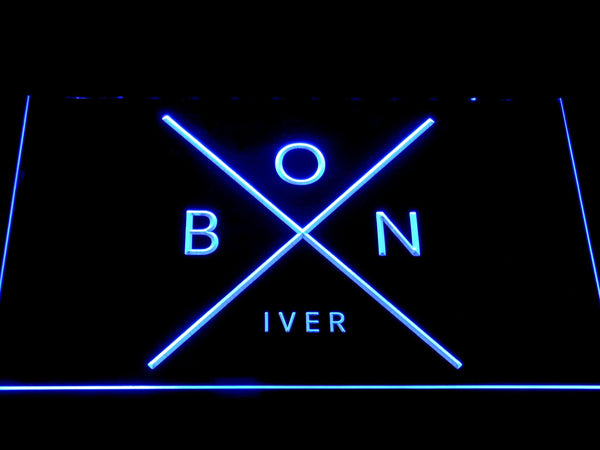 Bon Iver Folk Band LED Neon Sign c482 - Blue