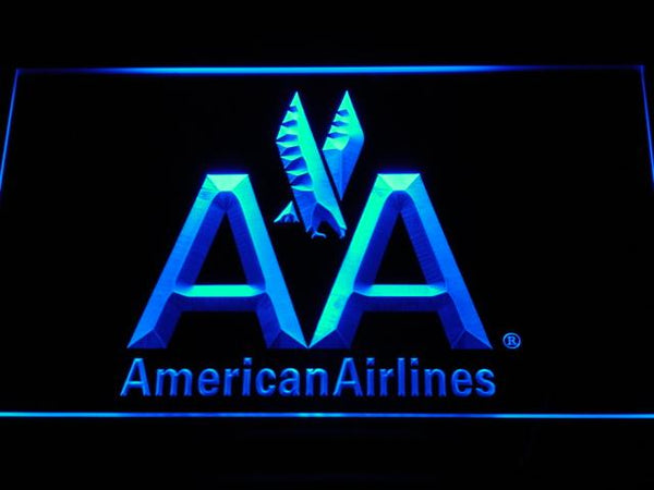 American Airlines AA Flight LED Neon Sign d030 - Blue