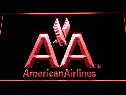 American Airlines AA Flight LED Neon Sign d030 - Red