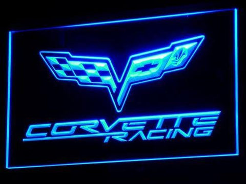 Corvette Chevrolet Racing LED Neon Sign d095 - Blue