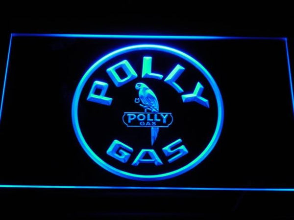 Polly Gas Gasoline LED Neon Sign d115 - Blue