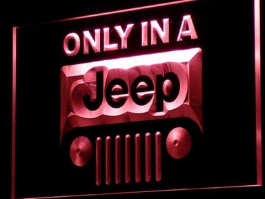 Only in a Jeep 4x4 LED Neon Sign d134 - Red