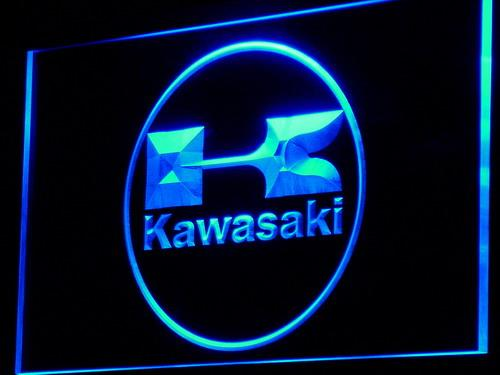 Kawasaki Racing Motorcylc LED Neon Sign d135 - Blue