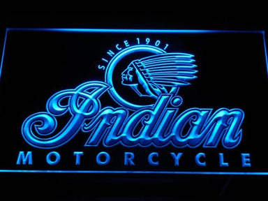 Indian Motorcycle Old Logo LED Neon Sign d190 - Blue