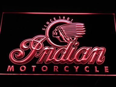 Indian Motorcycle Old Logo LED Neon Sign d190 - Red