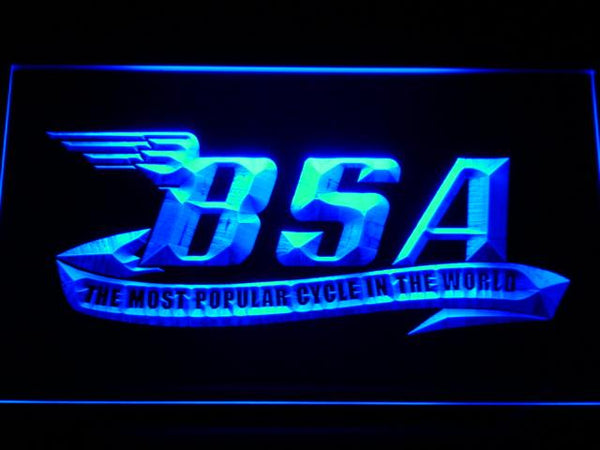 BSA Motorcycles LED Neon Sign d209 - Blue