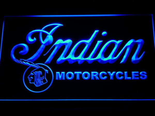 Indian Motorcycles Car LED Neon Sign d218 - Blue
